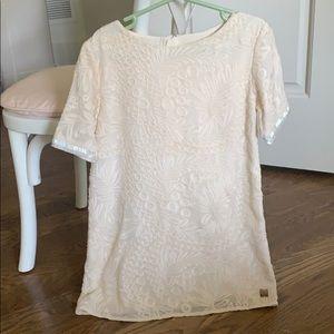 Carrement Beau dress with chevron beaded sleeve